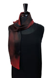 Silk Charmeuse 8x54 Shanna Passion Collection Small Red & Black Scarf