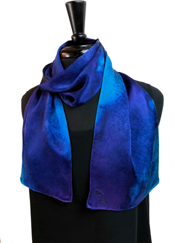 8x54 Silk Charmeuse Abstract Turquoise & Purple One of a Kind Hand Painted Unique Scarf