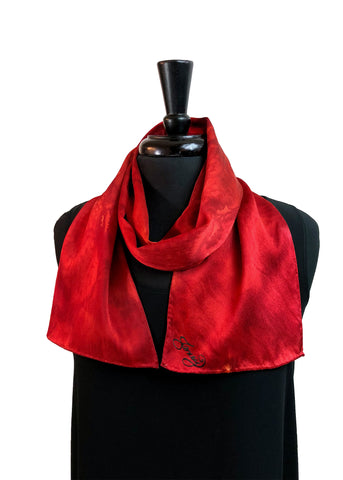 8x54 Hand Painted, One of a Kind Carmine Red Abstract Design Silk Charmeuse with Coral Undertones