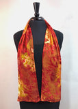 8x54 Devore Satin Hand Painted Silk Scarf with Fall Colors, Brilliant and Beautiful!