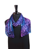 8x54 Turquoise, Magenta & Purple Hand Painted Abstract Devore Satin Silk Scarf