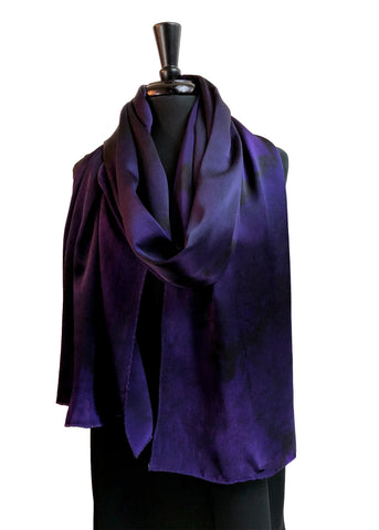 22x90 Original, One of a Kind Hand Painted Deep Purple Oriana Elegance Shawl