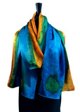 "22"" x 90""  Original, One of a Kind Hand Painted Darcy Rappahannock River Multi Colored Shawl"