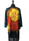 Silk Charmeuse One of a Kind Kimono Jacket with Free Hand Drawn Hibiscus