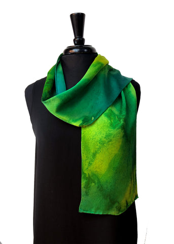 8x54 Silk Charmeuse Abstract Green & Yellow One of a Kind Hand Painted Unique Scarf
