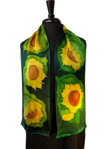 8x54 Hand Painted Marliana Sunflower Silk Satin Scarf