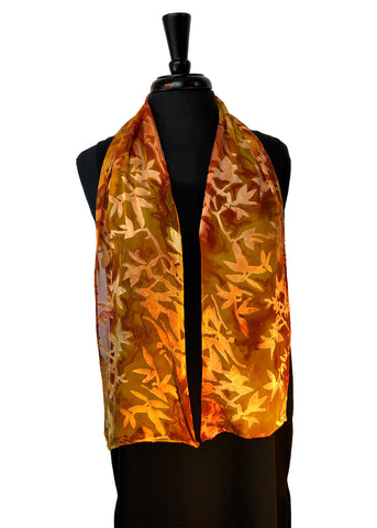 8x54 Devore Satin Hand Painted Silk Scarf with Rust and Gold, Brilliant and Beautiful!