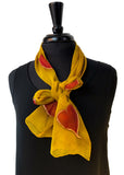 Hand Painted Silk Chiffon 8x54 Scarf with Red Hearts & Brilliant Gold Background and Metallic Gold Accents