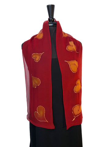 8x54 Hand Painted Silk Chiffon Scarf with Gold Hearts & Beautiful Red Background with Gold Accents