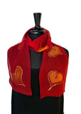 Hand Painted Silk Chiffon 8x54 Scarf with Gold Hearts & Beautiful Red Background with Gold Accents