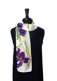 8x54 Silk Satin White Scarf with Hand Painted Purple Bearded Irises