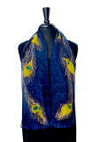8x54 Hand Painted Silk Chiffon Peacock Feather Scarf with Dark Blue Background and Gold Peacock Feathers