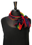 "8""x54"" Abstract Silk Chiffon Scarf Kristen Rainbows Series."