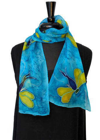 "8""x54"" Dragonfly with Abstract Light Blue Background Silk Chiffon Scarf with metallic gold accents"