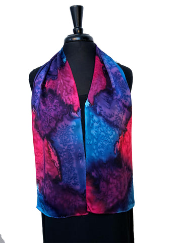 "8"" x 54"" Silk Charmeuse Abstract Turquoise, Magenta, Purple & Lavender One of a Kind Hand Painted Unique Scarf"