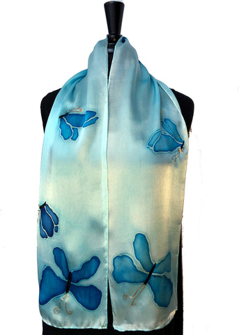 "8"" x 54"" Hand Painted Silk Satin Butterfly Scarf with light blue background"