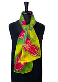 "8"" x 54"" Hand Painted Silk Satin Scarf with Magenta and Gold Irises on a Chartreuse Background"