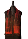 "8"" x 54"" Silk Chiffon Deep Red & Black Scarf with Gold Undertones and Gold Metallic Accents. Gorgeous and Stylish!"