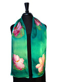 "8"" x 54"" Hand Painted Silk Charmeuse Magenta & White Magnolias Scarf with Teal Background"