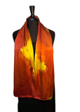 11 x 60 Silk Charmeuse Abstract Gold & Tangerine Silk Scarf