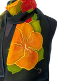 11 x 60 Hand Painted Silk Chiffon Natrishka Hibiscus Silk Scarf  with Metallic Gold Accents
