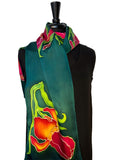 11 x 60 One of a Kind, Hand Painted, Free Hand Drawn Magenta & Gold Bearded Iris Silk Charmeuse Scarf on a Teal Background