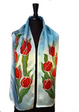 11 x 60 Hand Painted, Free Hand Drawn Red Tulips on a Soft Blue Sky Background Silk Satin Scarf