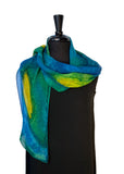 11 x 60 Hand Painted by Brush Silk Chiffon Scarf in the Spacialle Ocean Series