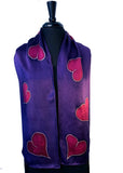 11 x 60 Hand Painted and Free Hand Drawn Silk Satin Scarf with Magenta Hearts on a Purple Background