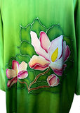 Original Hand Painted Kimono Silk Jacket with Freehand Drawn Magnolia Flowers, One Size Fits Most
