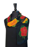 "8"" x 54"" Hand Painted Silk Chiffon Scarf with Red & Gold Hibiscus Flowers with Gold Accents on a Blue Green Background"