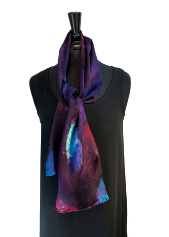 "8"" x 54"" Silk Charmeuse Abstract Turquoise Blues, Magenta & Purple Elegant One of a Kind Hand Painted Unique Scarf"