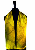 8x54 Silk Charmeuse Abstract Gold & Yellow One of a Kind Hand Painted Unique Scarf