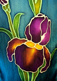 "8"" x 54"" Hand Painted by Brush Silk Satin with Purple Bearded Irises on a Teal Background"