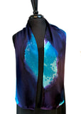 "8"" x 54"" Silk Charmeuse Abstract Turquoise, Blue & Purple Elegant One of a Kind Hand Painted Unique Scarf"