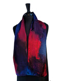"8"" x 54"" Silk Charmeuse Abstract Turquoise, Magenta, Purple & Lavender One of a Kind Hand Painted Unique Elegant Scarf"