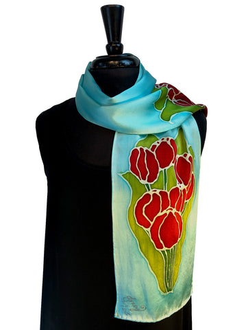 8 x 54 Hand Painted, Free Hand Drawn Red Tulips on a Soft Blue Sky Background Silk Charmeuse Scarf