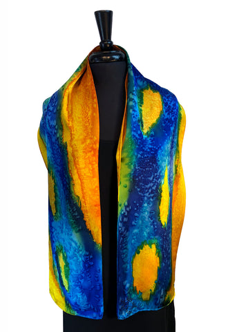 11 x 60 Silk Charmeuse Hand Painted Scarf in the Darcy Rappahannock River Series