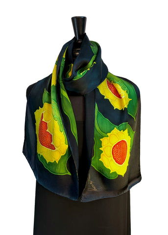 "11"" x 60"" Hand Painted Marliana Sunflower Silk Satin Scarf"