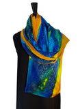 "14"" x 72""  Original, One of a Kind Hand Painted Darcy Rappahannock River Multi Colored Shawl"