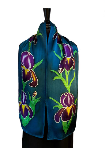 "11"" x 60"" Hand Painted by Brush Silk Charmeuse with Purple Bearded Irises on a Teal Background"
