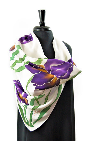 "Hand Painted 35""x35"" Square Silk Crepe de Chine Scarf, Susan's Irises Series"