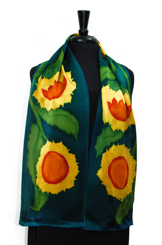 "Silk Satin Marliana's Sunflower 11""x60"" Hand Painted Scarf"