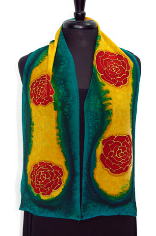 "Silk Crepe de Chine 8""54"" Hand Painted Scarf in the Rosie's Beautiful Roses Scarf"