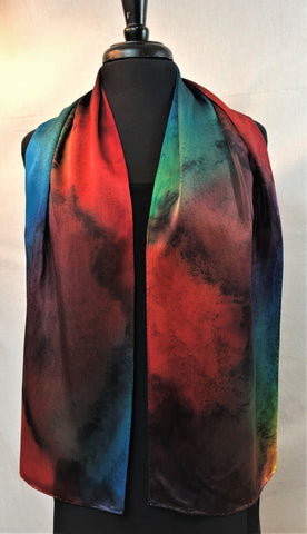 "Abstract Silk Charmeuse 11""x60"" Scarf in the Kristen' Rainbows Series."