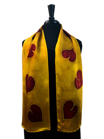Hand Painted Silk Satin 8x54 Scarf with Red Hearts & Brilliant Gold Background