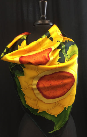 Marliana Sunflower Silk Satin Hand Painted Scarf