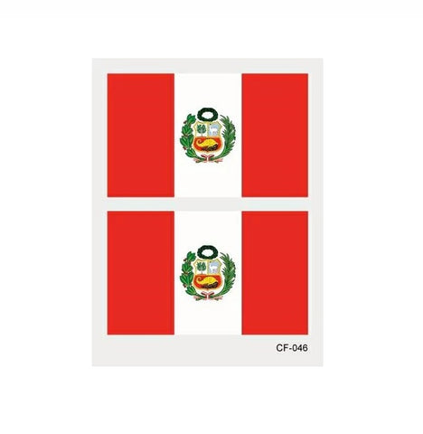 2x Peruvian flag temporary tattoo sticker - 3 Pack