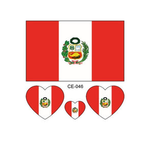 Peruvian National Flag Temporary Tattoo - 3 Pack