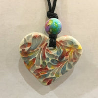 Rainbow Heart Essential Oil Diffuser Necklace Pendant